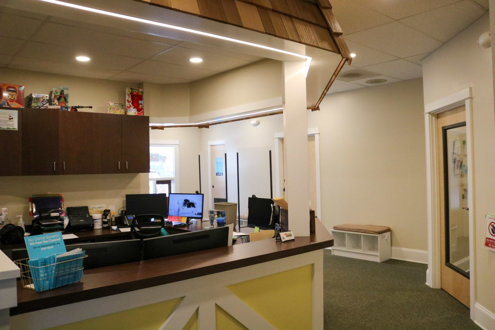 interior waiting room of Hillsboro office with front desk