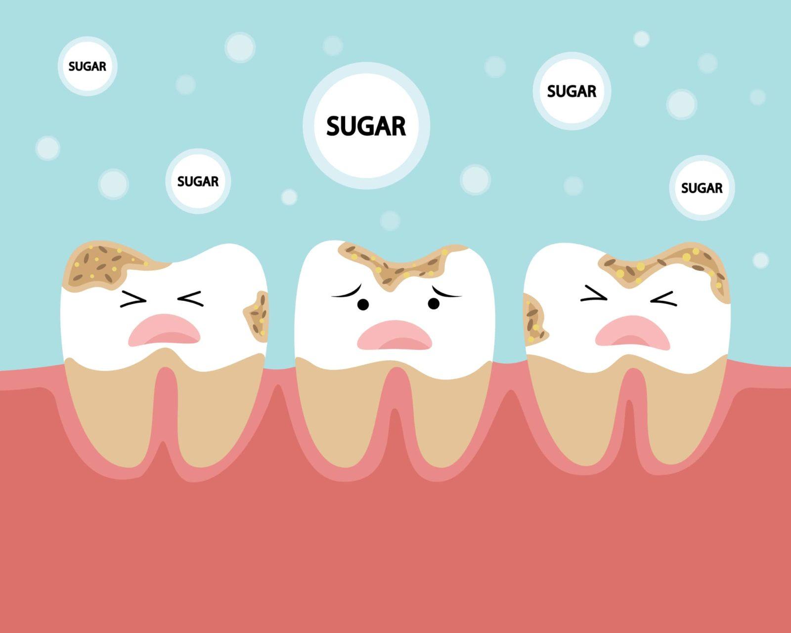cartoon of teeth being attacked by sugar