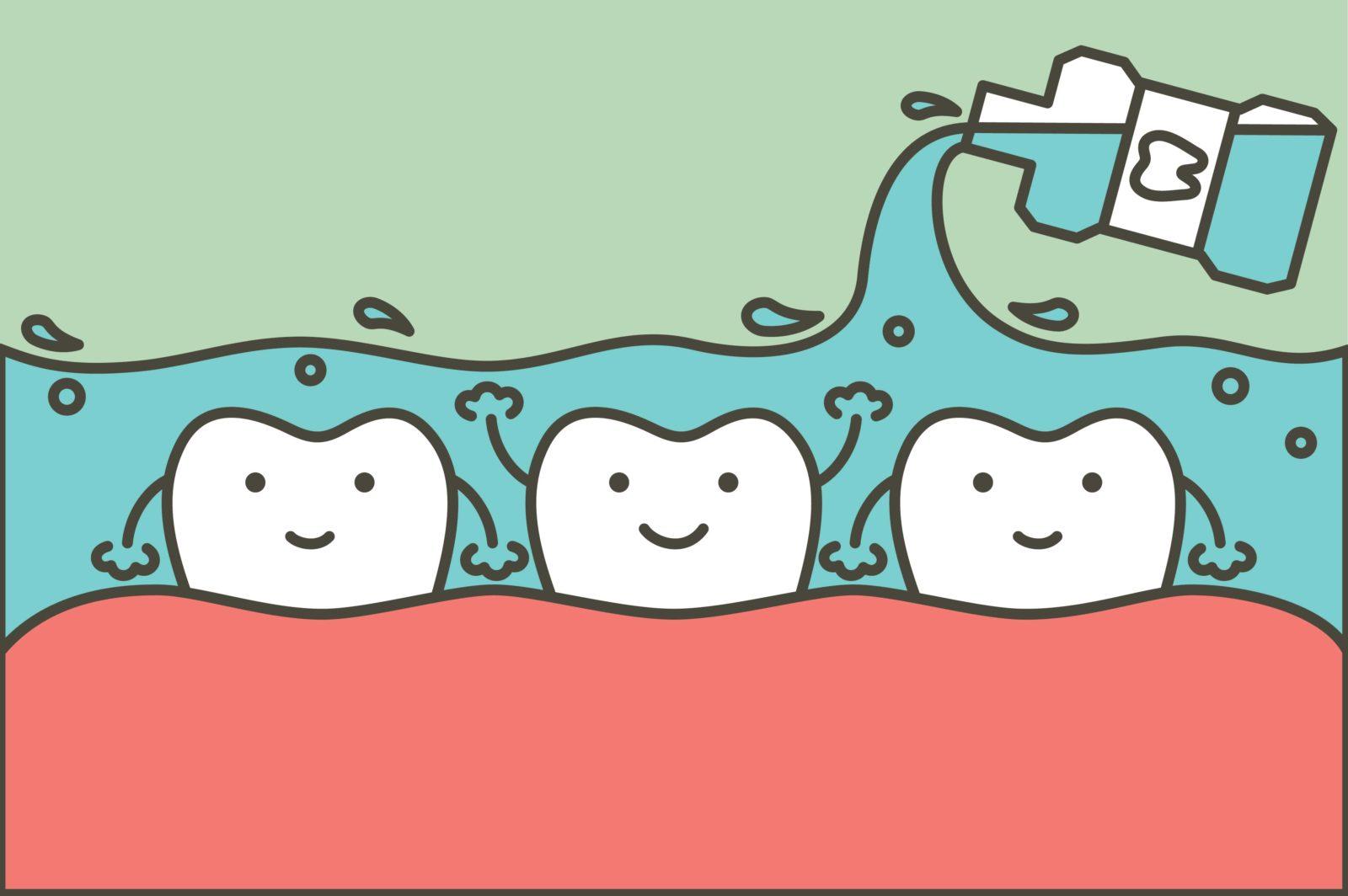 cartoon teeth being bathed in mouthwash