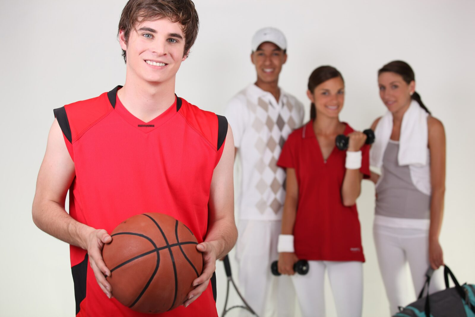 group of adolescent athletes