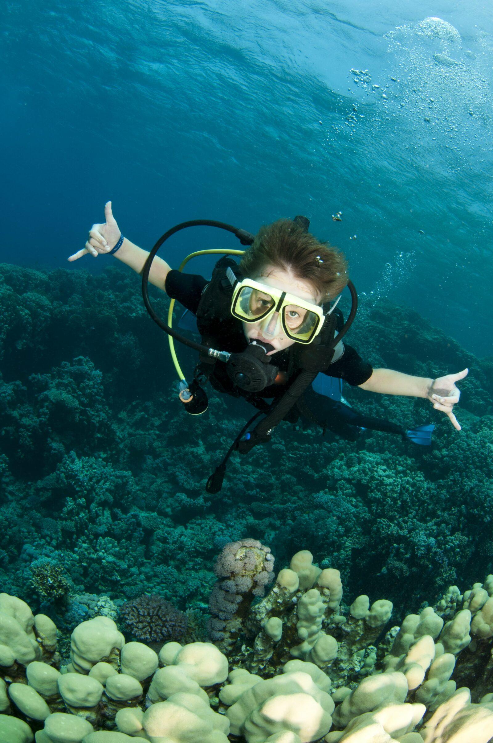child scuba diving
