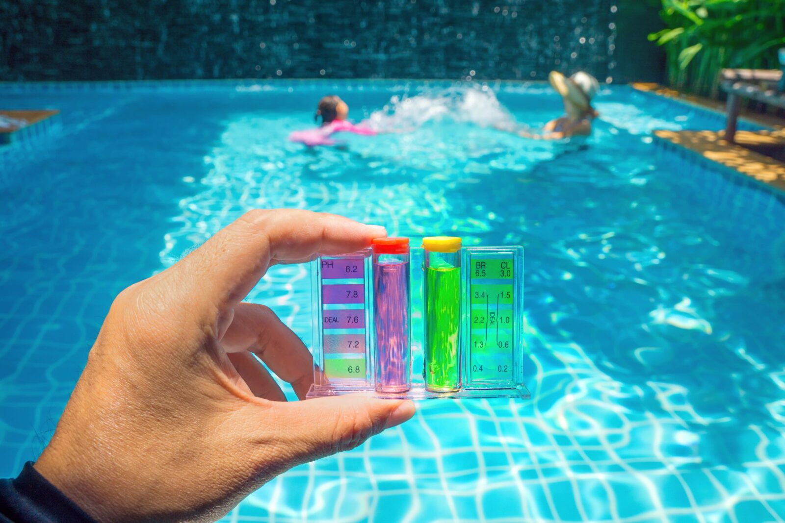 testing the pH of a swimming pool